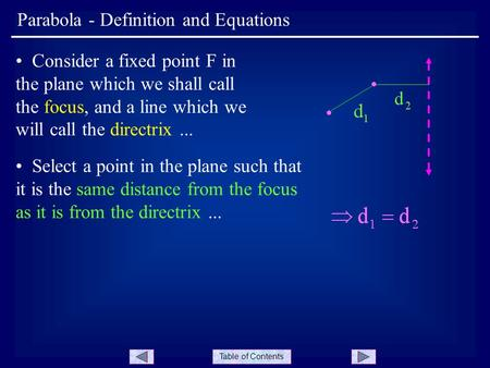Table of Contents Parabola - Definition and Equations Consider a fixed point F in the plane which we shall call the focus, and a line which we will call.
