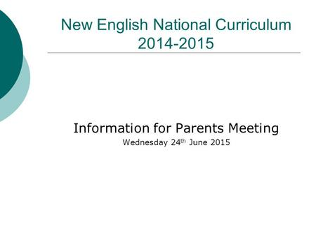 New English National Curriculum 2014-2015 Information for Parents Meeting Wednesday 24 th June 2015.