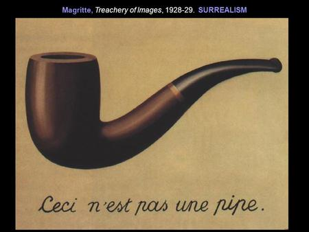 Magritte, Treachery of Images, 1928-29. SURREALISM.