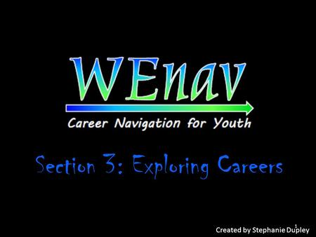 Section 3: Exploring Careers Created by Stephanie Dupley 1.