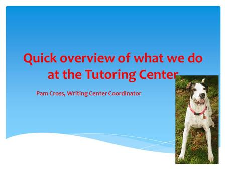 Quick overview of what we do at the Tutoring Center Pam Cross, Writing Center Coordinator.