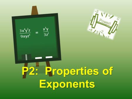 P2: Properties of Exponents. WARM UP – Copy the table below into your notes. Expand each problem and then simplify. RuleEx:ExpandedSimplifiedRule Product.
