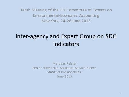 Inter-agency and Expert Group on SDG Indicators