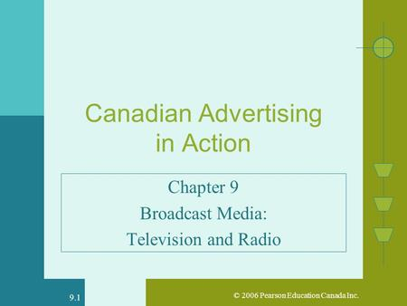 © 2006 Pearson Education Canada Inc. 9.1 Canadian Advertising in Action Chapter 9 Broadcast Media: Television and Radio.