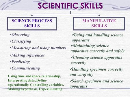SCIENTIFIC SKILLS SCIENCE PROCESS SKILLS MANIPULATIVE SKILLS Observing Classifying Measuring and using numbers Making inferences Predicting Communicating.