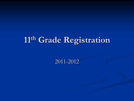 11 th Grade Registration 2011-2012. What to keep in mind when registering for classes High school graduation requirements High school graduation requirements.