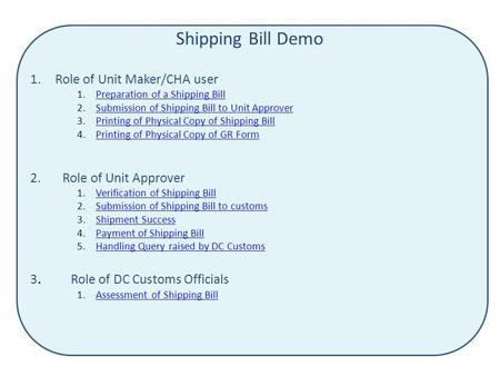 Shipping Bill Demo 1.Role of Unit Maker/CHA user 1.Preparation of a Shipping BillPreparation of a Shipping Bill 2.Submission of Shipping Bill to Unit ApproverSubmission.