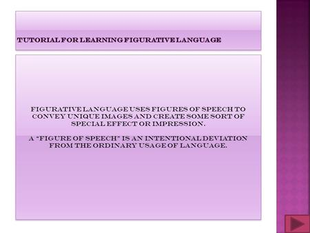 Tutorial for learning FIGURATIVE LANGUAGE