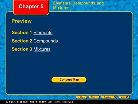 Chapter 5 Preview Section 1 Elements Section 2 Compounds