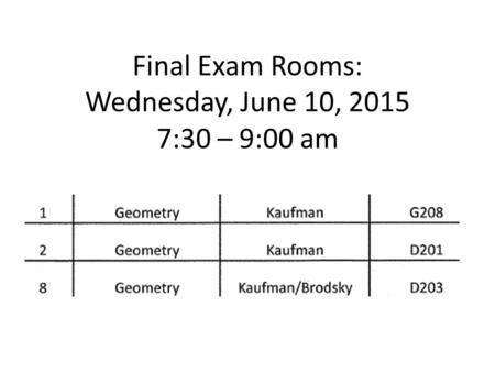 Final Exam Rooms: Wednesday, June 10, 2015 7:30 – 9:00 am.