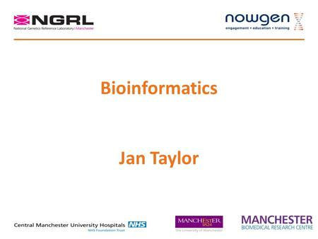 Bioinformatics Jan Taylor. A bit about me Biochemistry and Molecular Biology Computer Science, Computational Biology Multivariate statistics Machine learning.