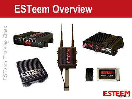 ESTeem Training Class ESTeem Overview. ESTeem Product Categories Licensed Serial – Long Range Application – Exclusive Use of FCC Frequency – PLC Emulation.