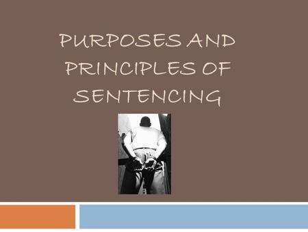 PURPOSES AND PRINCIPLES OF SENTENCING. Goals of Sentencing  In Section 718 of the Criminal Code a statement is found that gives judges some direction.