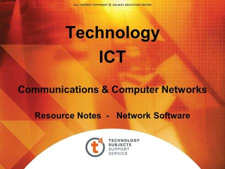 Technology ICT Communications & Computer Networks Resource Notes - Network Software.