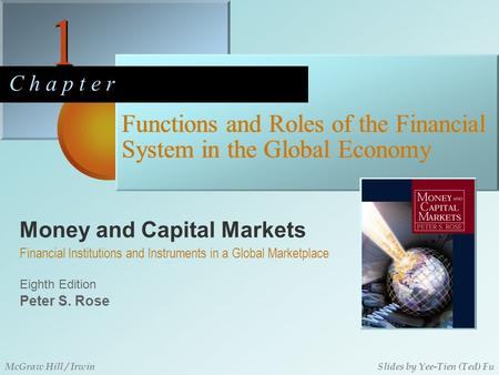 Money and Capital Markets 1 1 C h a p t e r Eighth Edition Financial Institutions and Instruments in a Global Marketplace Peter S. Rose McGraw Hill / IrwinSlides.