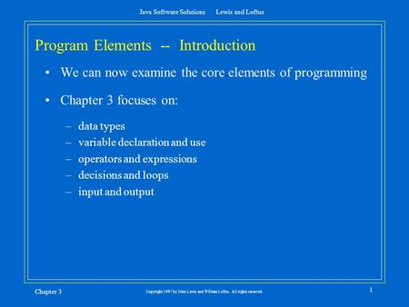 Program Elements -- Introduction