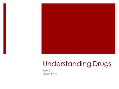 Understanding Drugs Part 2 Lessons 4-6.
