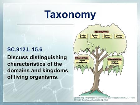 Taxonomy SC.912.L.15.6 Discuss distinguishing characteristics of the domains and kingdoms of living organisms. To the Teacher: Source:http://higheredbcs.wiley.com/legacy/college/levin/0471697435/chap_tut/chaps/chapter06-02.html.