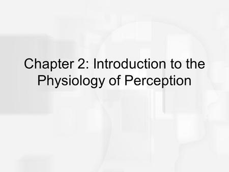 Chapter 2: Introduction to the Physiology of Perception.