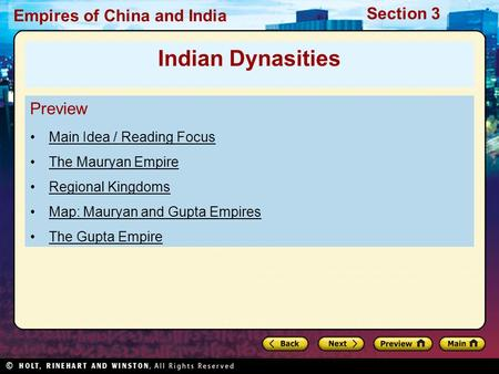 Indian Dynasities Preview Main Idea / Reading Focus The Mauryan Empire