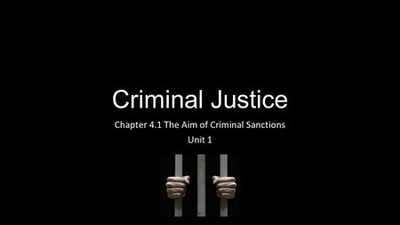 Criminal Justice Chapter 4.1 The Aim of Criminal Sanctions Unit 1.