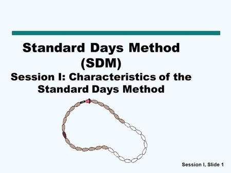 Standard Days Method (SDM) Session I: Characteristics of the Standard Days Method Suggested script: The Standard Days Method® , or SDM as commonly called.