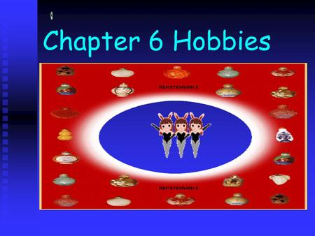 Chapter 6 Hobbies. Learning Objectives 1. To learn to express one's likes and dislikes 1. To learn to express one's likes and dislikes 2. To learn to.