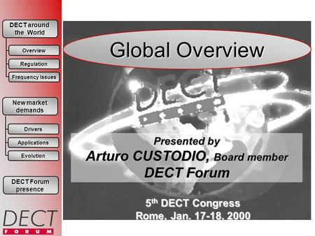 Global Overview Presented by Arturo CUSTODIO, Board member DECT Forum 5 th DECT Congress Rome, Jan. 17-18, 2000 DECT Forum DECT Forum presence DECT around.