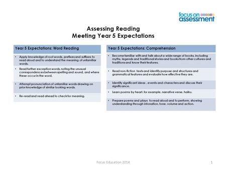 Assessing Reading Meeting Year 5 Expectations