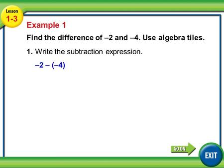 Lesson 6-3 Example 2 1-3 Example 1 Find the difference of –2 and –4. Use algebra tiles. 1.Write the subtraction expression. –2 – (–4)
