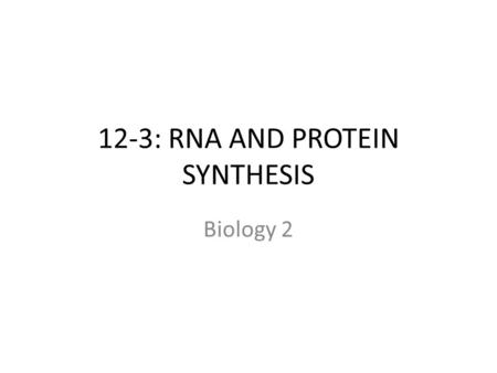 12-3: RNA AND PROTEIN SYNTHESIS Biology 2. DNA double helix structure explains how DNA can be copied, but not how genes work GENES: sequence of DNA that.