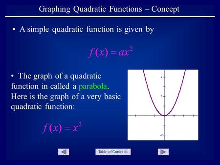 Table of Contents Graphing Quadratic Functions – Concept A simple quadratic function is given by The graph of a quadratic function in called a parabola.
