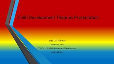 Child Development Theories Presentation Jared L.A. Nierman January 22, 2014 EDUC 121: Child & Adolescent Development Andrea Bush.