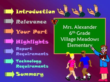 Mrs. Alexander 6 th Grade Village Meadows Elementary Introduction Relevance Your Part Highlights Report Requirements Technology Requirements Summary.