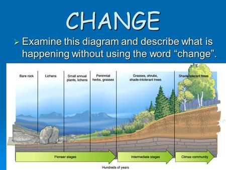"CHANGE  Examine this diagram and describe what is happening without using the word ""change""."