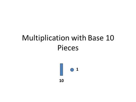 Multiplication with Base 10 Pieces 10 1. Modeling Multiplication With your Base Ten blocks, model the problem: 3 x 5 Let's see the example below… How.