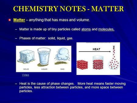 CHEMISTRY NOTES - MATTER