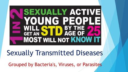 Sexually Transmitted Diseases Grouped by Bacteria's, Viruses, or Parasites.
