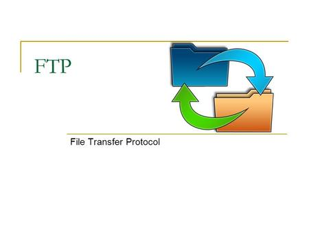 FTP File Transfer Protocol. Introduction transfer file to/from remote host client/server model  client: side that initiates transfer (either to/from.