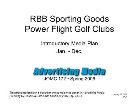 January 17, 2006 1 of 20 RBB Sporting Goods Power Flight Golf Clubs Introductory Media Plan Jan. - Dec. JOMC 172 Spring 2006 This presentation deck is.