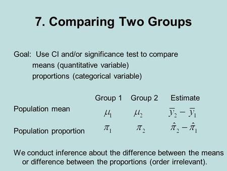 7. Comparing Two Groups Goal: Use CI and/or significance test to compare means (quantitative variable) proportions (categorical variable) Group 1 Group.