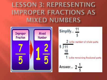  Every improper fraction can be converted to a mixed number  Every mixed number can be converted to an improper fraction.