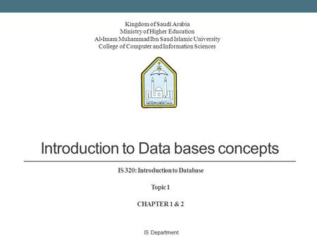 Introduction to Data bases concepts