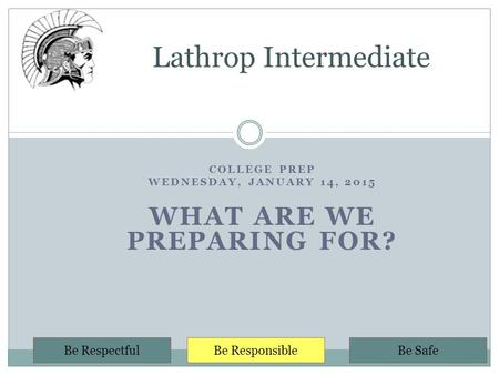 COLLEGE PREP WEDNESDAY, JANUARY 14, 2015 WHAT ARE WE PREPARING FOR? Lathrop Intermediate Be RespectfulBe ResponsibleBe Safe.