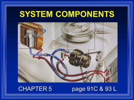 SYSTEM COMPONENTS CHAPTER 5page 91C & 93 L. OBJECTIVES l IDENTIFY AND COMPARE THE STATE OF REFRIGERANT IN EACH SECTION OF A/C SYSTEM. l EXPLAIN PURPOSE.