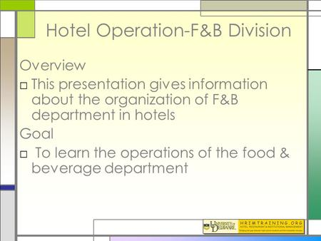 Hotel Operation-F&B Division