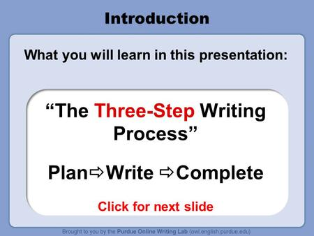 "Introduction What you will learn in this presentation: ""The Three-Step Writing Process"" Plan  Write  Complete Click for next slide."