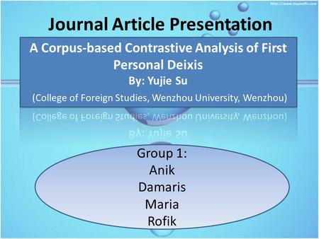 Journal Article Presentation Group 1: Anik Damaris Maria Rofik.
