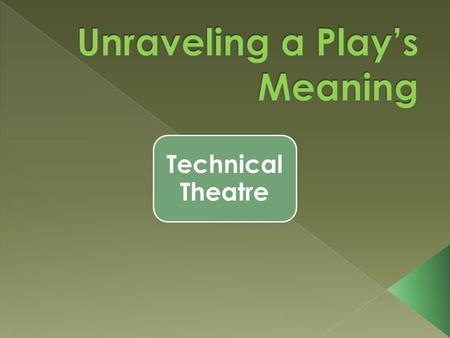 Technical Theatre. often reveals the playwright's dominant theme sometimes reveals motivation behind the action of the central character play on words.