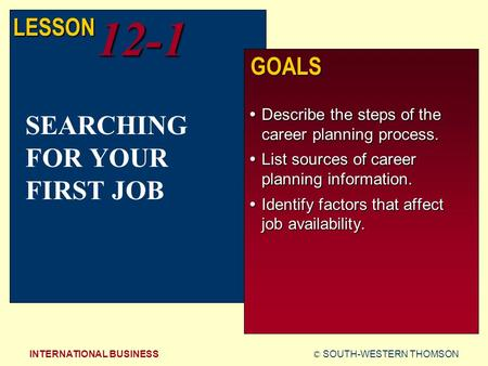 © SOUTH-WESTERN THOMSONINTERNATIONAL BUSINESS LESSON12-1 GOALS  Describe the steps of the career planning process.  List sources of career planning information.